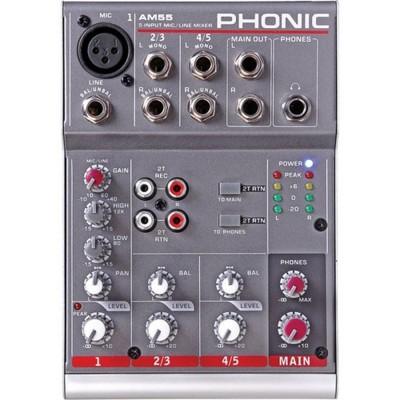 PHONIC AM 55 MIXER AUDIO A 5 CANALI COMPATTO PER LIVE NUOVO GARANZIA UFFICIALE